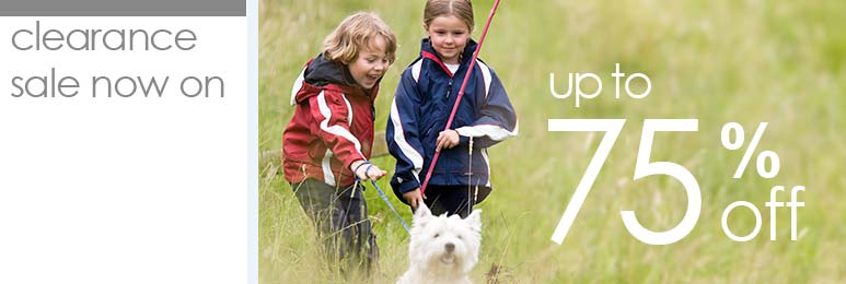 Clearance Sale - save up to 75 percent on children's outdoor clothing